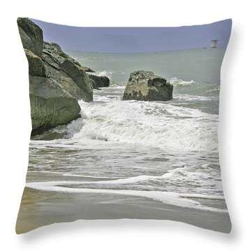 Rocks, Sand And Surf Throw Pillow