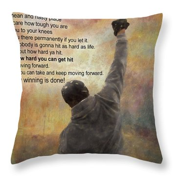 Rocky Balboa Inspirational Quote Throw Pillow