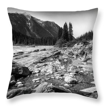 Rocky Banks Of Kootenay River Throw Pillow