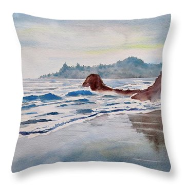 Throw Pillow featuring the painting Rocky Beach by Geni Gorani