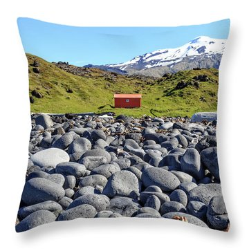 Throw Pillow featuring the photograph Rocky Beach Iceland by Edward Fielding