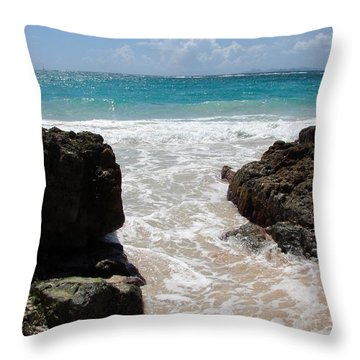 Throw Pillow featuring the photograph Rocky Beach In The Caribbean by Margaret Bobb
