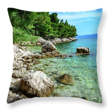 Rocky Beach On The Dalmatian Coast, Dalmatia, Croatia Throw Pillow