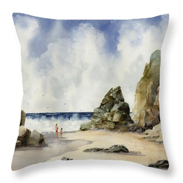 Throw Pillow featuring the painting Rocky Beach by Sam Sidders