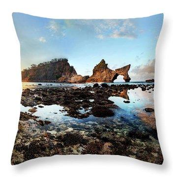 Rocky Beach Sunrise, Bali Throw Pillow
