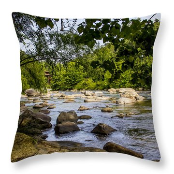 Rocky Broad River Throw Pillow
