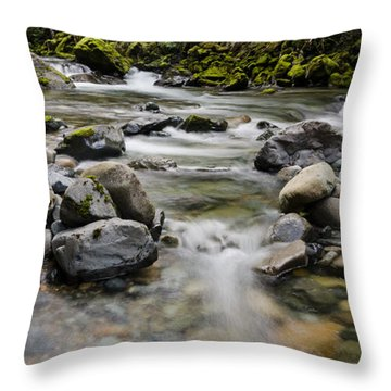 Rocky Clear River Throw Pillow