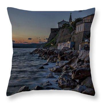 Throw Pillow featuring the photograph Rocky Coast At Dawn - Piran - Slovenia by Stuart Litoff