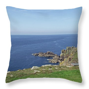 Rocky Coastline At Land's End Throw Pillow