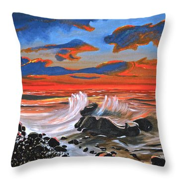 Rocky Cove Throw Pillow by Donna Blossom