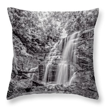 Throw Pillow featuring the photograph Rocky Falls - Bw by Christopher Holmes