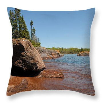 Throw Pillow featuring the photograph Rocky Lake Superior View by Sandra Updyke
