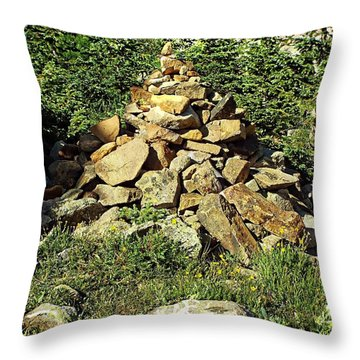 Rocky Mountain Cairn Throw Pillow