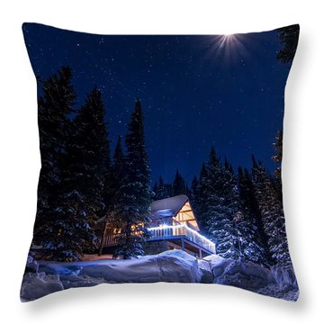 Rocky Mountain Chalet Throw Pillow by Michael J Bauer