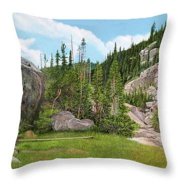 Rocky Mountain Forest Throw Pillow