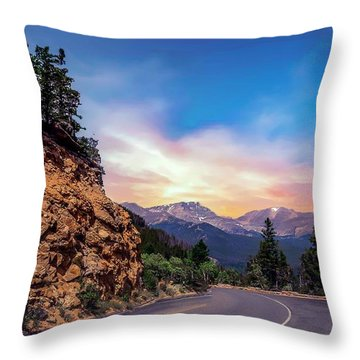 Rocky Mountain High Road Throw Pillow