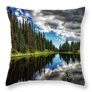 Rocky Mountain Lake Irene Throw Pillow