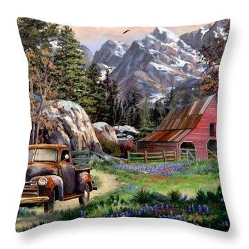 Rocky Mountain Ranch Throw Pillow