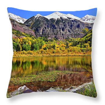 Rocky Mountain Reflections - Telluride - Colorado Throw Pillow by Jason Politte