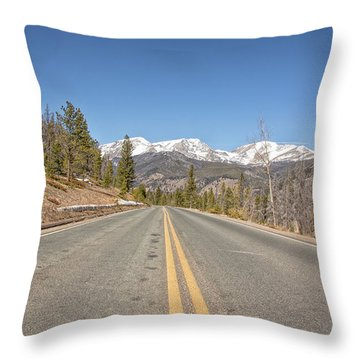 Rocky Mountain Road Heading Towards Estes Park, Co Throw Pillow