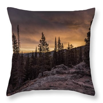 Rocky Mountain Skyfire Throw Pillow