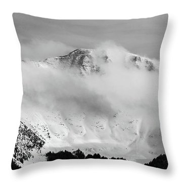 Rocky Mountain Snowy Peak Throw Pillow