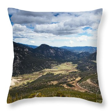 Rocky Mountain Storm Clouds Over The Valley Throw Pillow