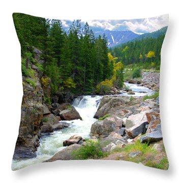 Rocky Mountain Stream Throw Pillow