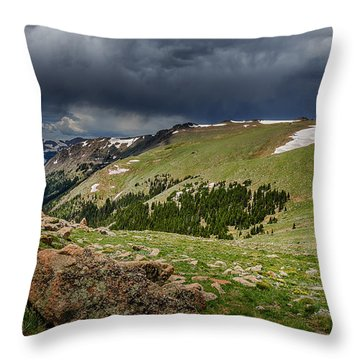 Rocky Mountain Strorm Throw Pillow