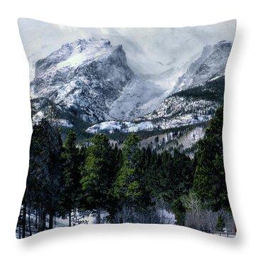 Rocky Mountain Winter Throw Pillow
