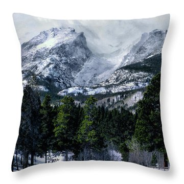 Rocky Mountain Winter Throw Pillow by Jim Hill