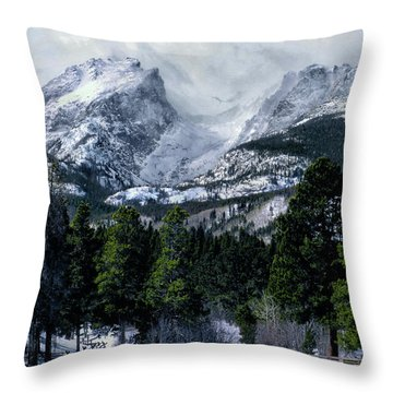 Rocky Mountain Winter Throw Pillow