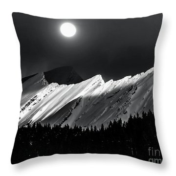 Rocky Mountains In Moonlight Throw Pillow
