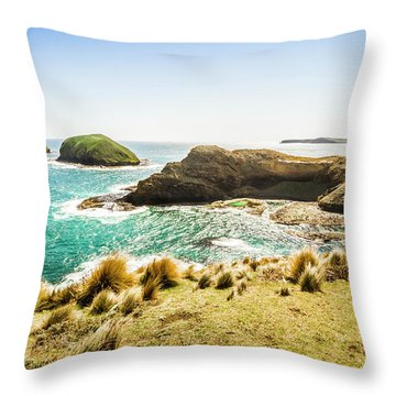 Rocky Ocean Capes Throw Pillow