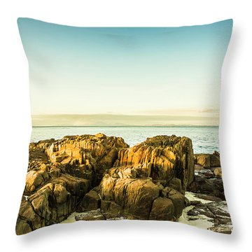 Rocky Oceanscape Throw Pillow