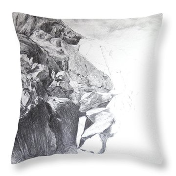 Rocky Outcrop In Snowdonia. Throw Pillow by Harry Robertson