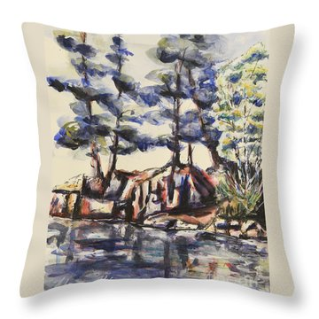Rocky Pines Throw Pillow by Heather Kertzer