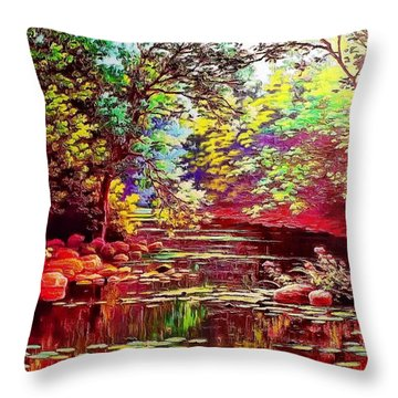Rocky Rainbow River Throw Pillow