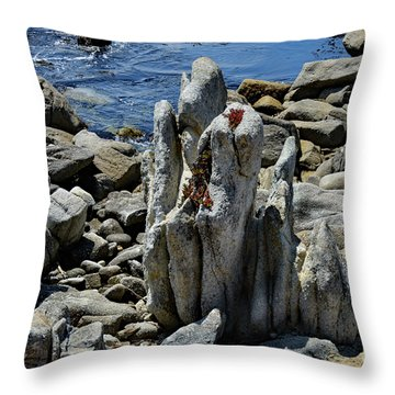 Throw Pillow featuring the photograph Rocky Remains At Carmel Point by Susan Wiedmann