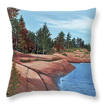 Throw Pillow featuring the painting Rocky River Shore by Kenneth M Kirsch