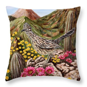 Throw Pillow featuring the painting Rocky Road Runner by Judy Filarecki