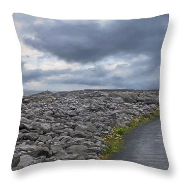 Rocky Road To The Lighthouse Throw Pillow