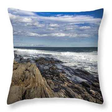 Rocky Shore Line Two Lights Maine  Throw Pillow