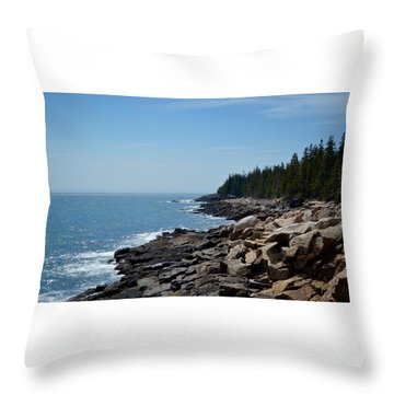 Rocky Summer Shore Throw Pillow
