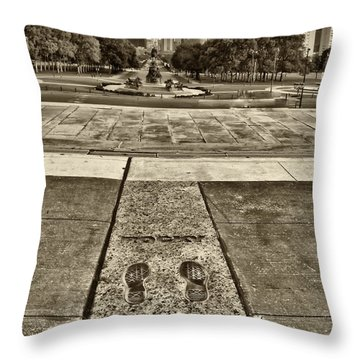 Rocky's Footprints Throw Pillow by Jack Paolini