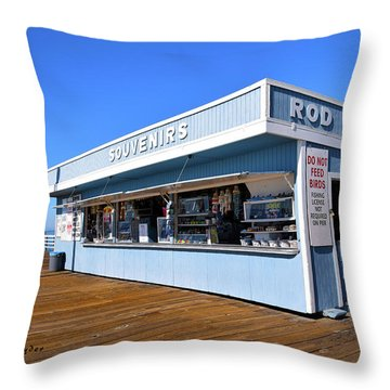 Throw Pillow featuring the photograph Rod Rental At The Pismo Beach Pier by Floyd Snyder