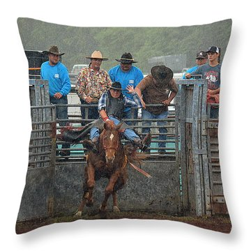 Throw Pillow featuring the photograph Rodeo Bronco by Lori Seaman