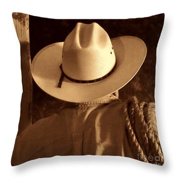 Rodeo Cowboy Throw Pillow by American West Legend By Olivier Le Queinec