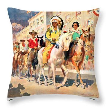 Rodeo Parade - Vintage Poster Restored Throw Pillow