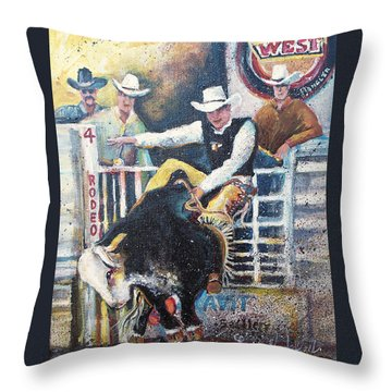 Rodeo Ride Throw Pillow by Linda Shackelford